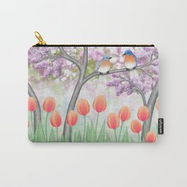 eastern bluebirds, tulips, & lilacs Carry-All Pouch