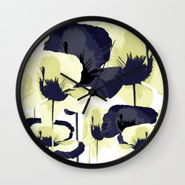 Dark Blue and Light Yellow Poppies On A White Background Fall Mood #decor #society6 #buyart Wall Clock
