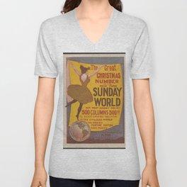 Vintage Poster Print - New York Sunday World, 1895 - 500 Column Christmas Publication, December 15 Unisex V-Neck