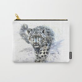 Watercolor Snow Leopard Carry-All Pouch