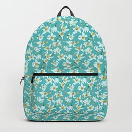 Citrus blooming tiny flowers in a sky blue backgrund Backpack