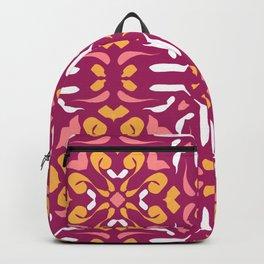 Warm Auburn Mandala - Burnt Siena Terracotta Symmetric Tile - Floral Yellow Abstract Backpack