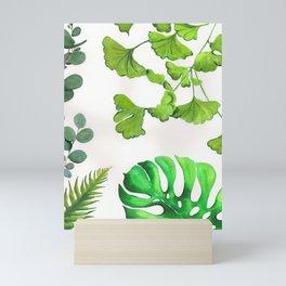Green Tropical Leaves Ginkgo Biloba Monstera Palm Eucalyptus Silver Dollar Mini Art Print