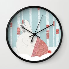A cold winter for bunnies Wall Clock