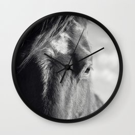 Close Up Horse Picture in Black and White Wall Clock