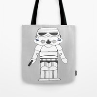 storm trooper Tote Bags featuring Storm Trooper by The Naptime Artist