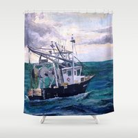 england Shower Curtains featuring New England by Samantha Crepeau
