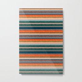 serape southwest stripe - orange & dark teal Metal Print
