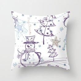 Christmas Elements Winter Snowman Sketch Pattern Throw Pillow