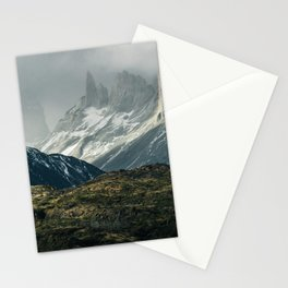 Menacing Mountain peaks with fog coming in Stationery Cards