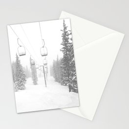 Empty Chairlift // Alone on the Mountain at Copper Whiteout Conditions Foggy Snowfall Stationery Cards