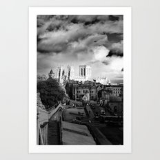 York Minster and walls in the sun Art Print