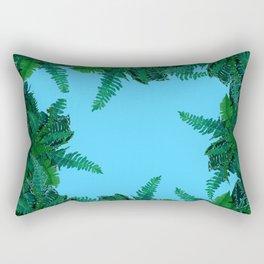 GREEN & BABY BLUE  FERN LEAVES ART Rectangular Pillow