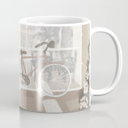Bicycle & Pink Bugambilia Flower Coffee Mug