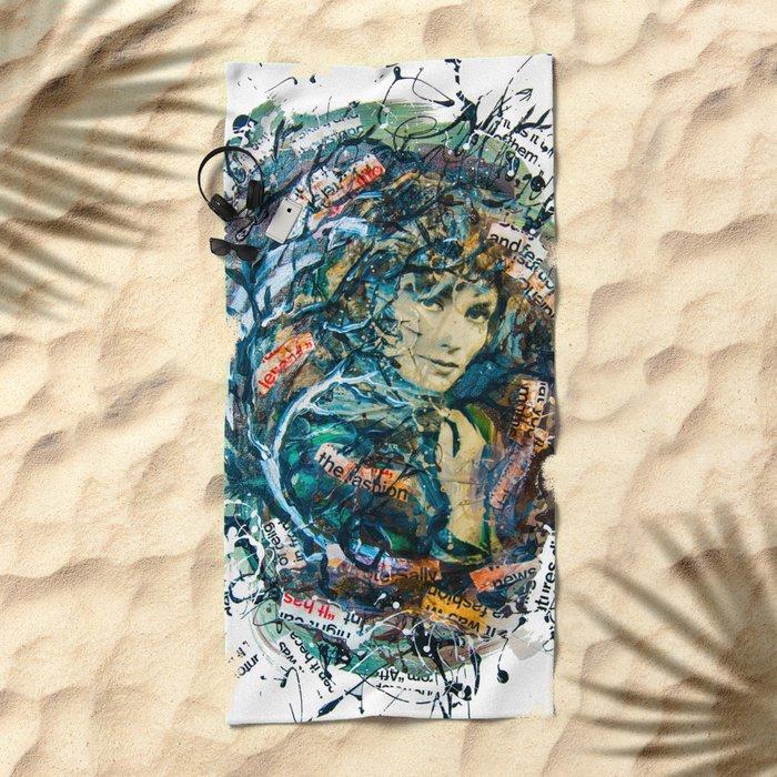 the woman's face #2 Beach Towel