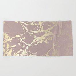 Kintsugi Ceramic Gold on Clay Pink Beach Towel