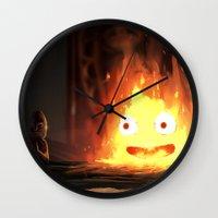 calcifer Wall Clocks featuring Cálcifer by Kitexavier