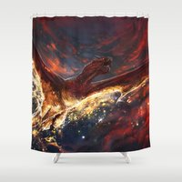 smaug Shower Curtains featuring I am Fire, I am Death by Five-Oclock