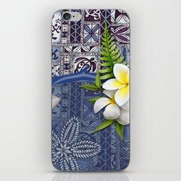Blue Hawaiian Tapa and Plumeria iPhone Skin