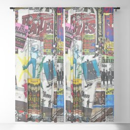 British Rock and Roll Invasion Fab Four Vintage Concert Rock and Roll Painting Collage portrait Sheer Curtain