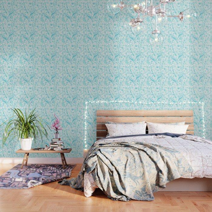 Mermaid Toile   Teal Wallpaper