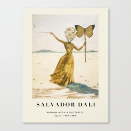 Vintage poster-Salvador Dali-Woman with a butterfly.  Canvas Print