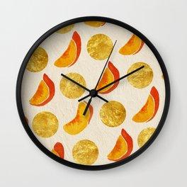 Golden Peaches Wall Clock