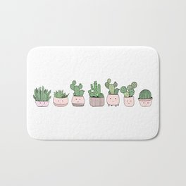 Happy succulent cactuses Bath Mat