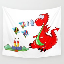 Dragon The Hot Air Balloon Helper Wall Tapestry