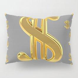 GOLDEN MONEY DOLLARS & CHARCOAL GREY  PATTERN MODERN ART Pillow Sham