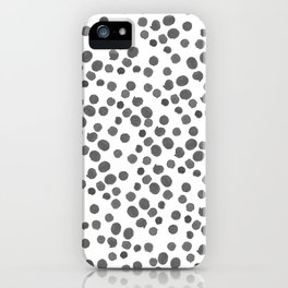 Modern hand painted gray black watercolor polka dots pattern iPhone Case