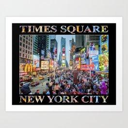 Times Square Tourists (on black) Art Print