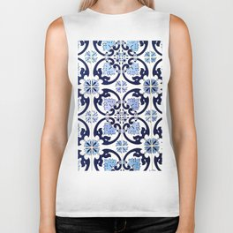 Azulejos, moroccan tiles, Painted tiles, blue, white, portugal Biker Tank