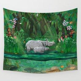 Rhinoceros mom and cub Wall Tapestry