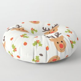 Christmas Reindeer, Holly and Ornaments Floor Pillow