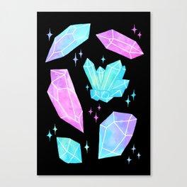 Pastel Watercolor Crystals // Black Canvas Print