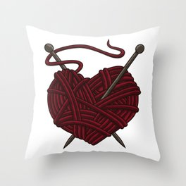 I Love Knitting | Wool Needle Heart Sewing Craft Throw Pillow