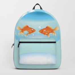 Two cute gold fishes in a fishbowl Backpack