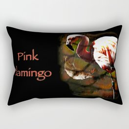 Pink Flamingo in the rain Rectangular Pillow
