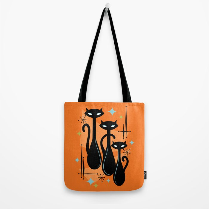 Effervescent Orange Atomic Age Black Kitschy Cat Trio Tote Bag