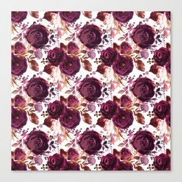 Burgundy pink white watercolor hand painted floral Canvas Print