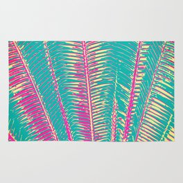 Girly Blue and Pink Tropical Palm Fronds Rug