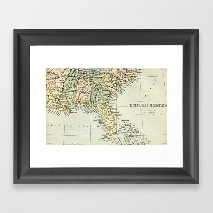 Vintage Map of the South Of The United States Of America Framed Art on