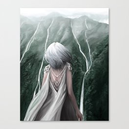 Girl  standing by a mountain Digital Art Painting Canvas Print