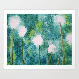 Abstract Dandelions WISH Art Print