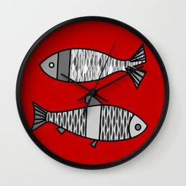 Retro Modern Fish, Deep Red and Gray / Grey Wall Clock