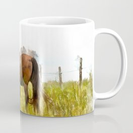 Horse Grazing in the Field.  Watercolor Painting Style. Coffee Mug