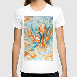 Sparkly Gold Goldfish watercolor by CheyAnne Sexton T-shirt
