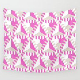Pink and White Pattern with Gray Fractal Art Wall Tapestry