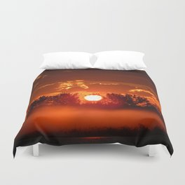 Flaming Horses over the Foggy Sunrise Duvet Cover